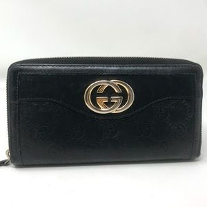 Gucci Black Leather Guccisima Marmont Zippy Wallet
